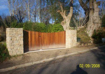 creation piliers en pierres pour portail bois 1 - Maçonnerie paysagère